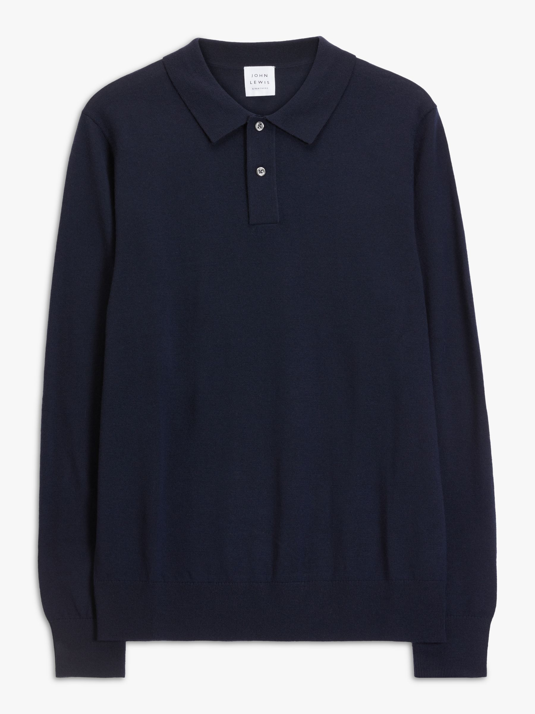 Buy John Lewis & Partners Extra Fine Merino Polo Top, Navy, S Online at johnlewis.com