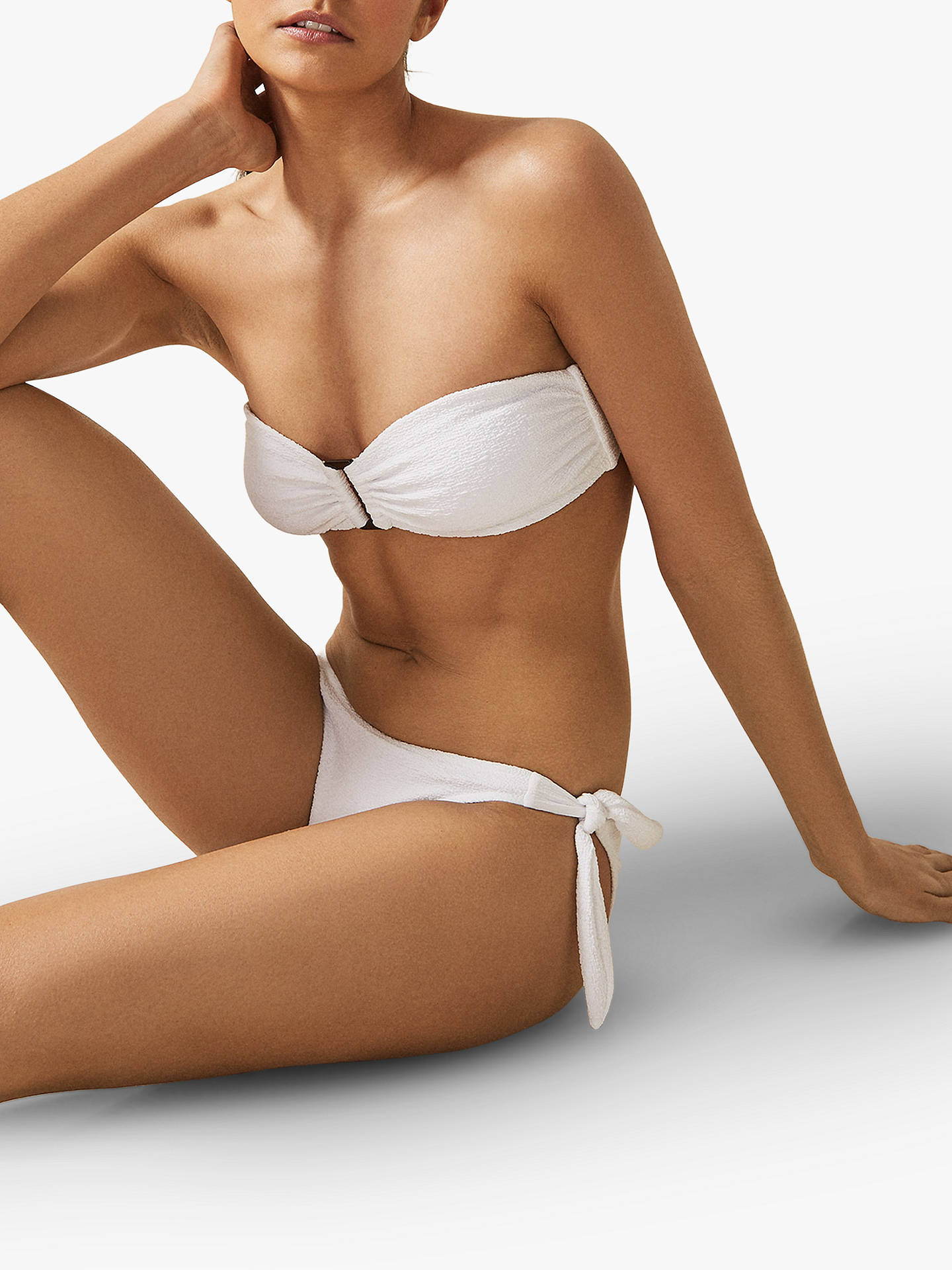 9c4c415522 ... Buy Reiss Florentina Textured Bikini Bottoms, White, XS Online at  johnlewis.com ...