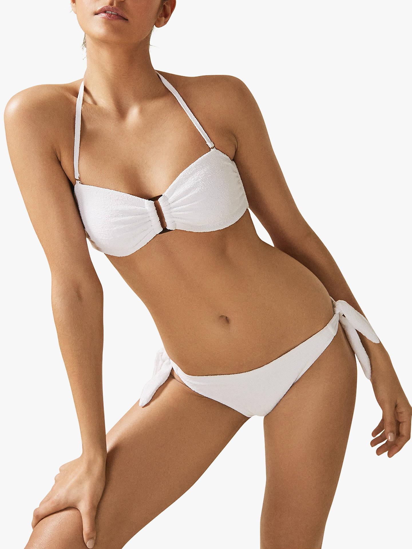 30d55dd4f8 Buy Reiss Florentina Textured Bikini Top, White, XS Online at johnlewis.com  ...