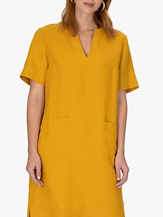 Jaeger Patch Pocket Linen Dress, Yellow