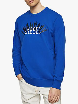 Diesel S-GIR-A1 Industry Logo Sweatshirt, Bright Blue