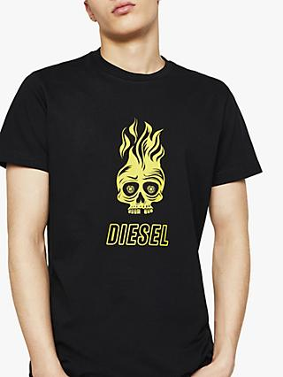 Diesel T-Diego Division Flaming Skull Graphic T-Shirt, Black/Logo