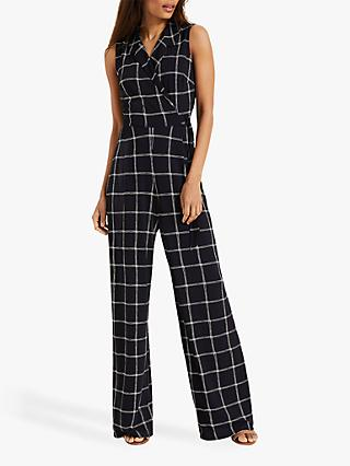 Phase Eight Cheskie Check Jumpsuit, Navy/Ivory