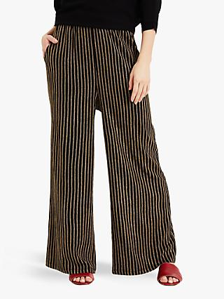 Phase Eight Striped Wide Leg Karly Trousers, Black