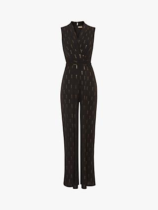 Phase Eight Tia Foil Jumpsuit, Navy/Gold