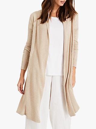 Phase Eight Lili Longline Linen Cardigan, Stone