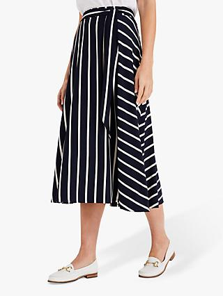 Phase Eight Sallie Stripe Midi Skirt, Navy/Ivory