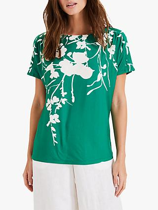 Phase Eight Filipa Floral Print Top, Green Ivory