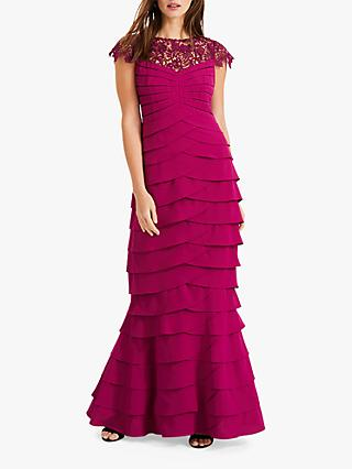 Phase Eight Alix Layered Fishtail Dress, Magenta