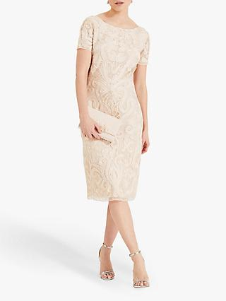 Phase Eight Rosalie Tapework Dress, Cream