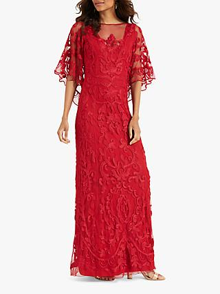 Phase Eight Aviana Tapework Maxi Dress, Red