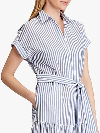 Lauren Ralph Lauren Vilma Tiered Cotton Shirt Dress, Blue/White