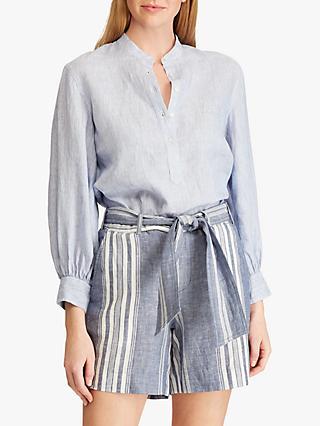 e789517a340 Lauren Ralph Lauren Rozzania Linen Shirt, Blue/White