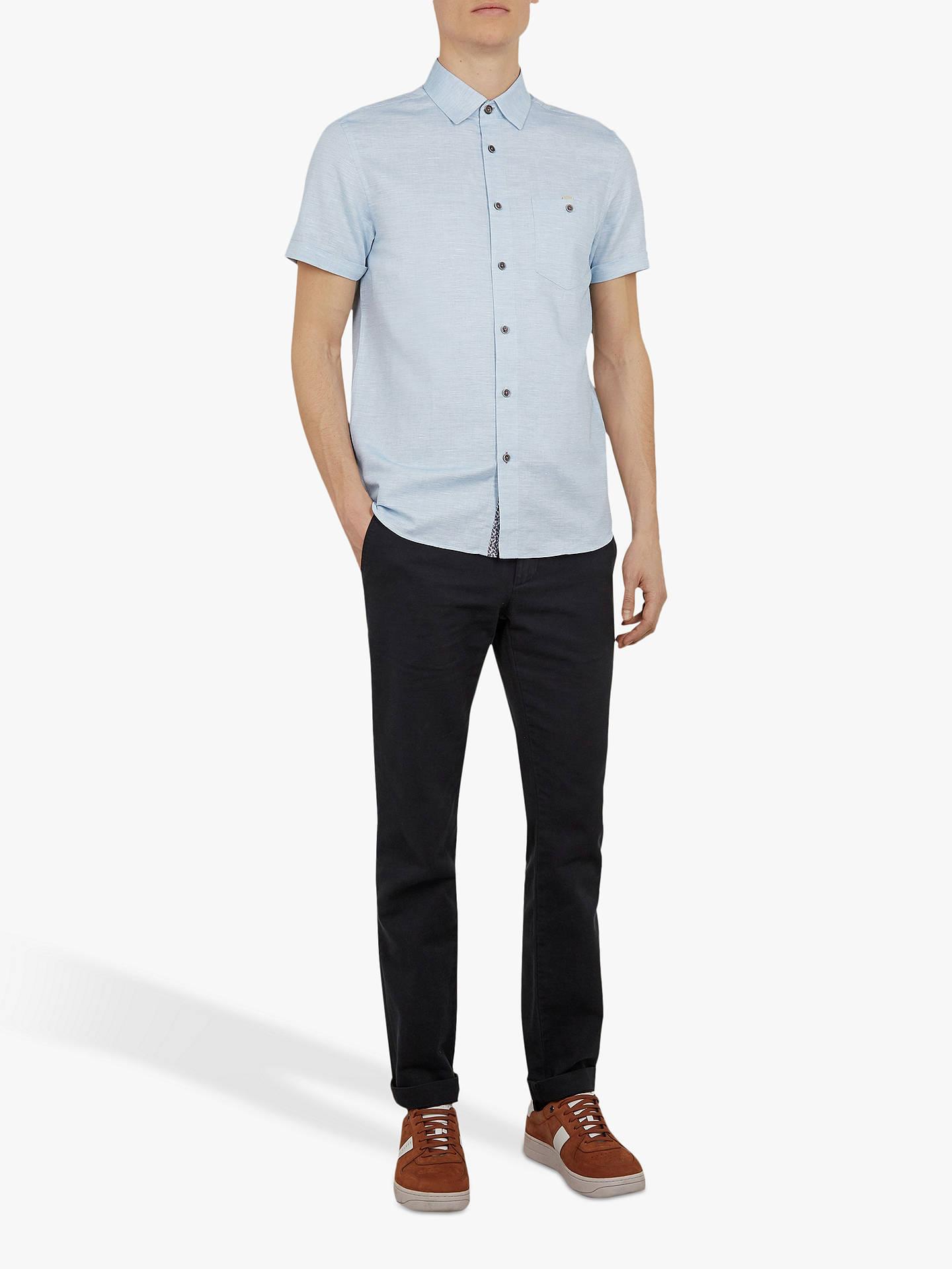 Ted Baker Clion Linen Blend Short Sleeve Shirt, Mid Blue