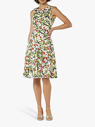 L.K.Bennett Jesse Cherry Print Fit and Flare Dress, Ivory