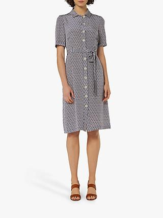 L.K.Bennett Irenie Belted Silk Shirt Dress, Blue