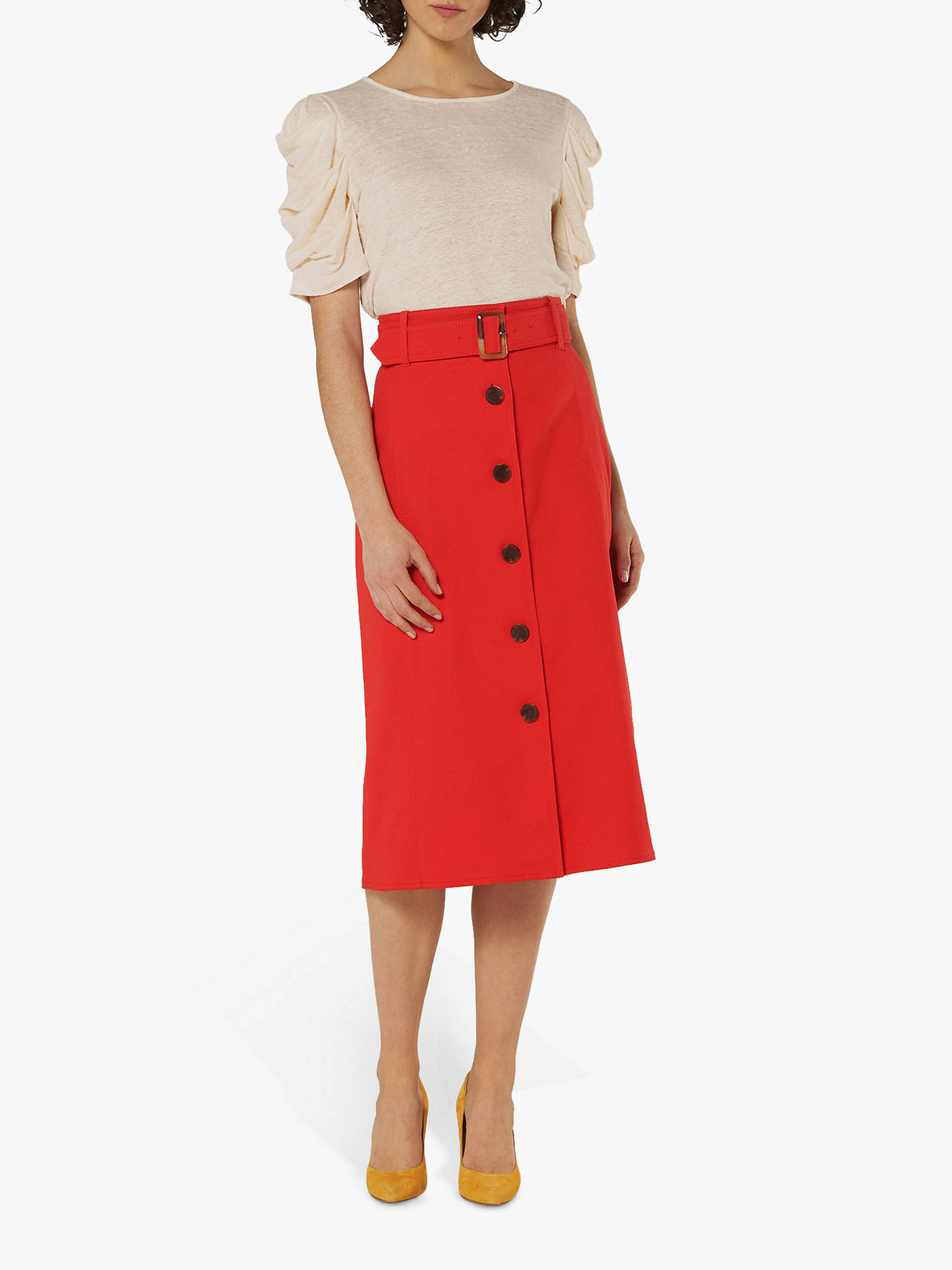 bf398ae6455 Buy L.K.Bennett Oda Cotton Skirt, Red, 6 Online at johnlewis.com ...