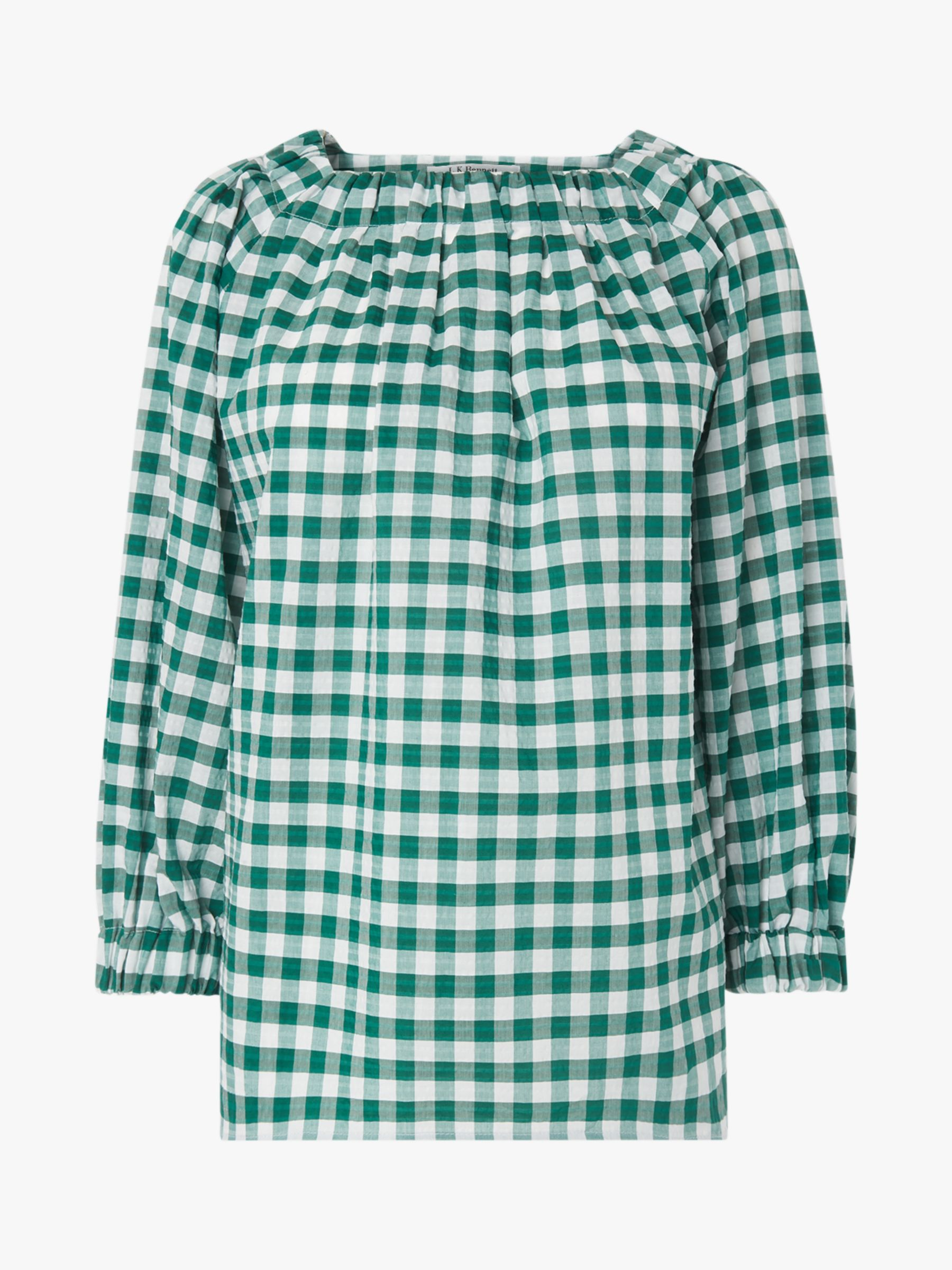 034c702bdb L.K.Bennett Saffron Gingham Print Top, Green/White at John Lewis & Partners