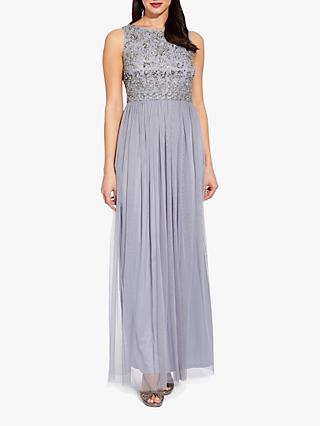 Adrianna Papell Beaded Bodice Gown, Silver Grey