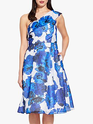 Adrianna Papell One Shoulder Floral Dress, Royal Blue/Ivory