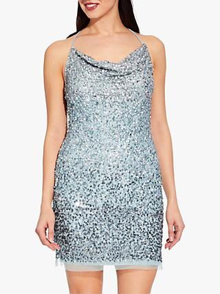 Adrianna Papell Sequin Mini Slip Dress, Aqua Dust
