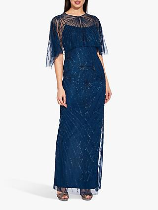 Adrianna Papell Beaded Column Maxi Dress, Deep Blue