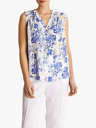 Fenn Wright Manson Sahara Floral Sleeveless Top, Blue Animal Print