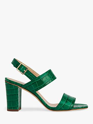 L.K.Bennett Rhiannon Croc Sandals, Green Leather