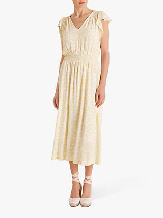 Fenn Wright Manson Daisy Print Midi Dress, White/Lemon