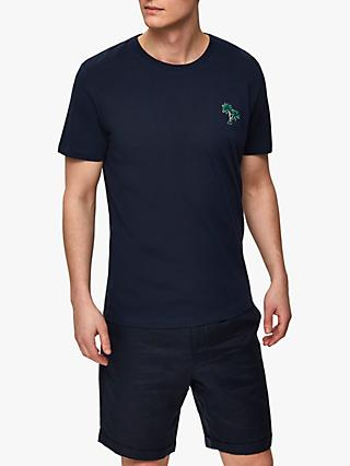 SELECTED HOMME Miami Palm Embroidered T-Shirt, Dark Sapphire