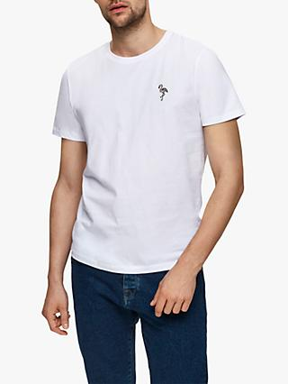 SELECTED HOMME Miami Flamingo Embroidered T-Shirt, Bright White