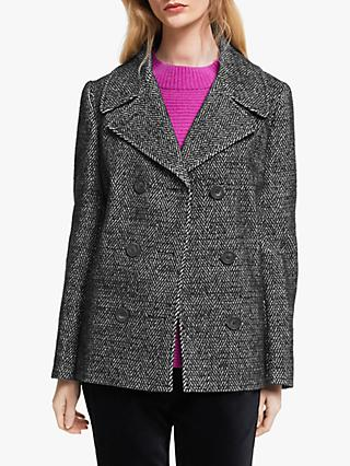 John Lewis & Partners Double Breasted Pea Coat, Black/White