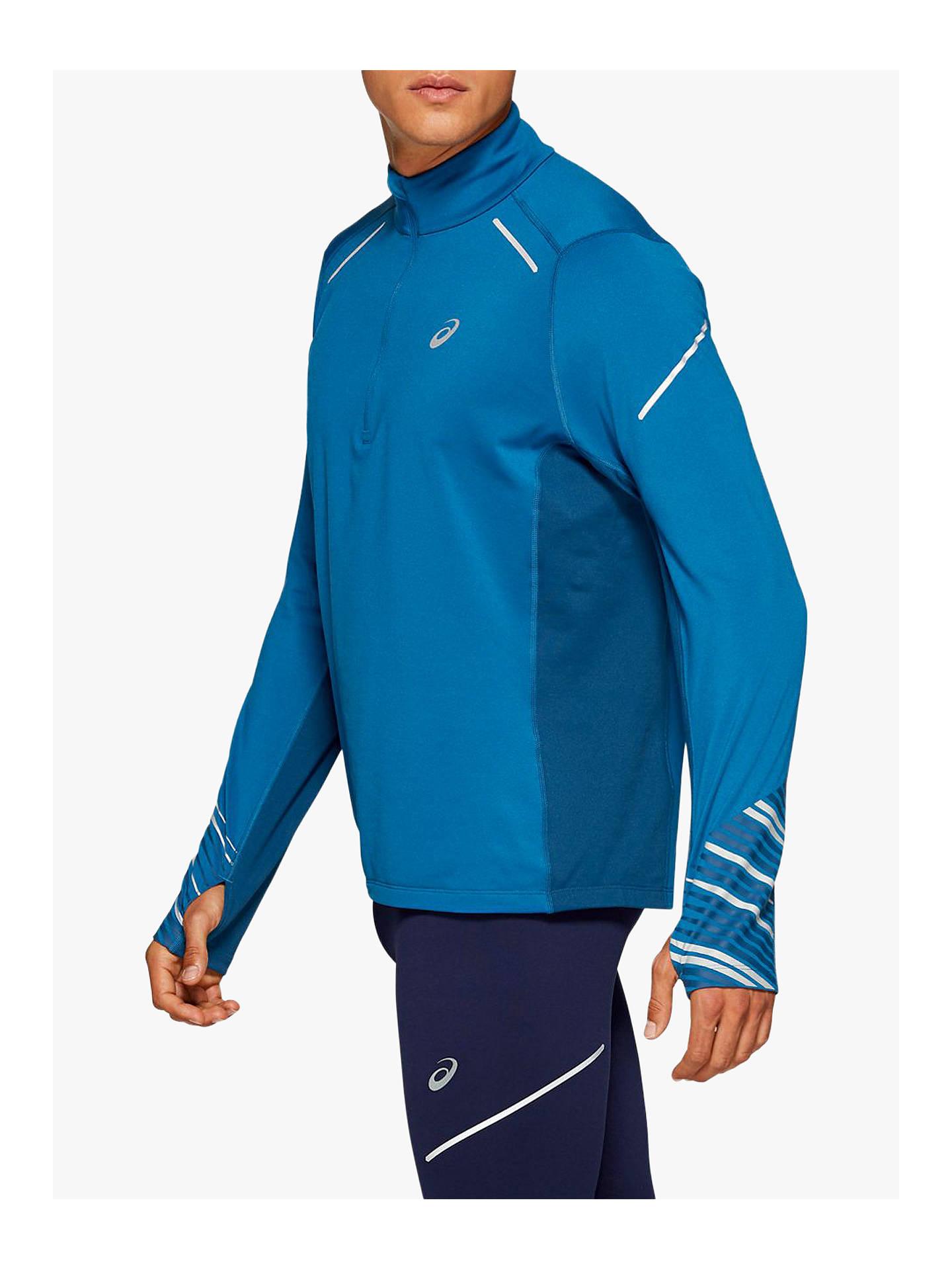 Blue ASICS Half Zip Long Sleeve Mens Running Top