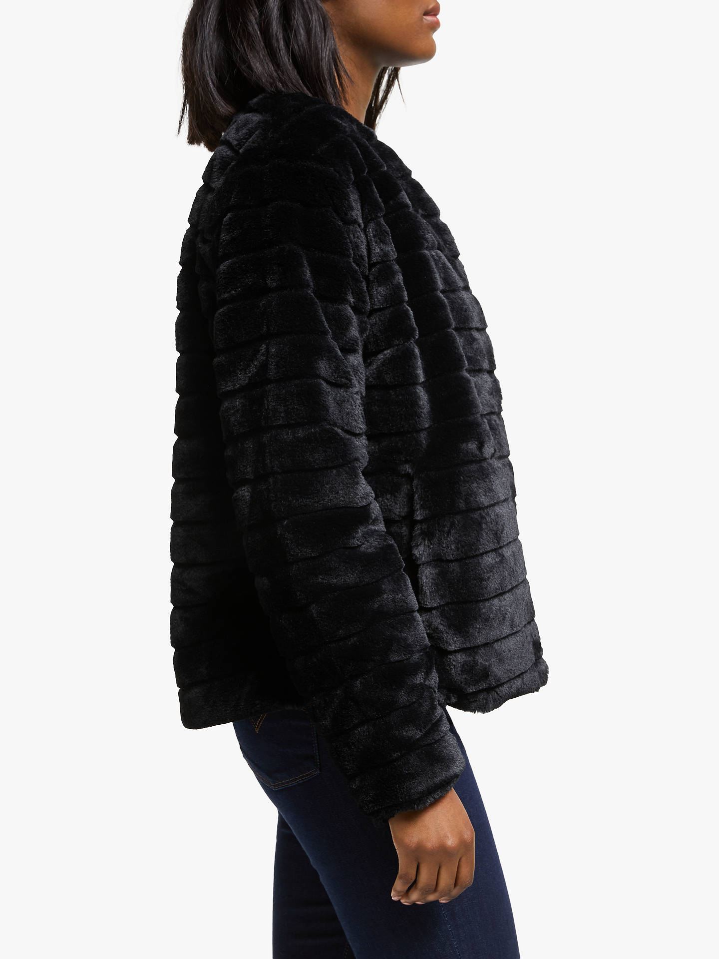 Lauren Ralph Lauren Faux Fur Coat, Black at John Lewis ...
