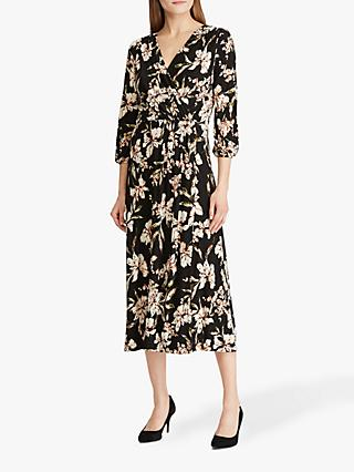 Lauren Ralph Lauren Vashendria Floral Print Day Dress, Black/Pink
