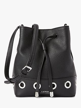 ce497ce8346f Lauren Ralph Lauren Debby II Drawstring Leather Bucket Bag, Black