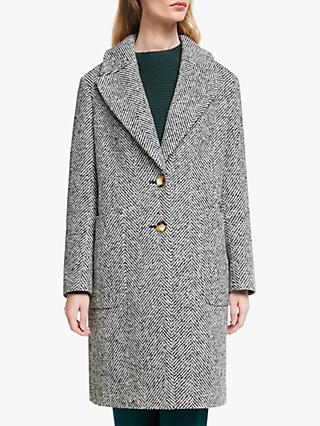 John Lewis & Partners Herringbone Patch Pocket Car Coat