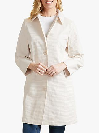 Four Seasons Stripe Single Breasted Coat, Natural/Cream