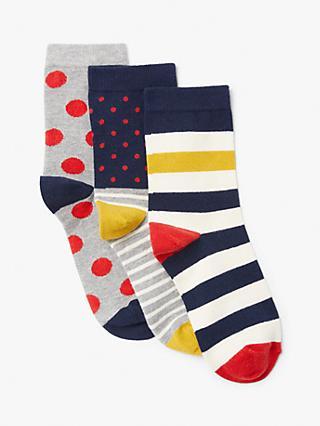 8b454fa7e868e John Lewis & Partners Cotton Mix Stripe and Spot Ankle Socks, Pack of 3,