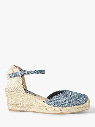 Buy Jigsaw Alessia Metallic Espadrilles, Blue Textile, 3 Online at johnlewis.com