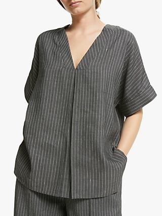Modern Rarity Stripe V-Neck Top, Black