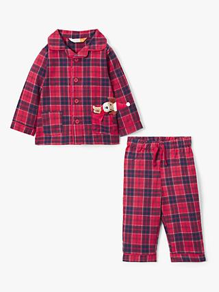 John Lewis & Partners Baby Check Print Pyjama And Dog Toy Set, Red