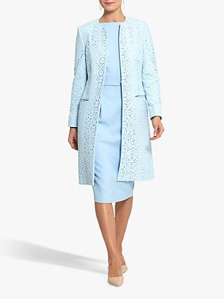 Helen McAlinden Collarless Lace Coat, Light Blue