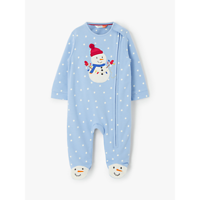 John Lewis & Partners Baby GOTS Organic Cotton Snowman Sleepsuit, Light Blue
