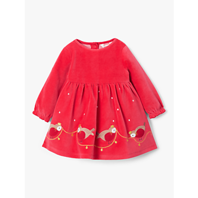 John Lewis & Partners Baby GOTS Organic Cotton Velour Robin Dress, Red
