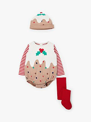 John Lewis & Partners Baby GOTS Organic Cotton Christmas Pudding Romper and Hat Set, Brown