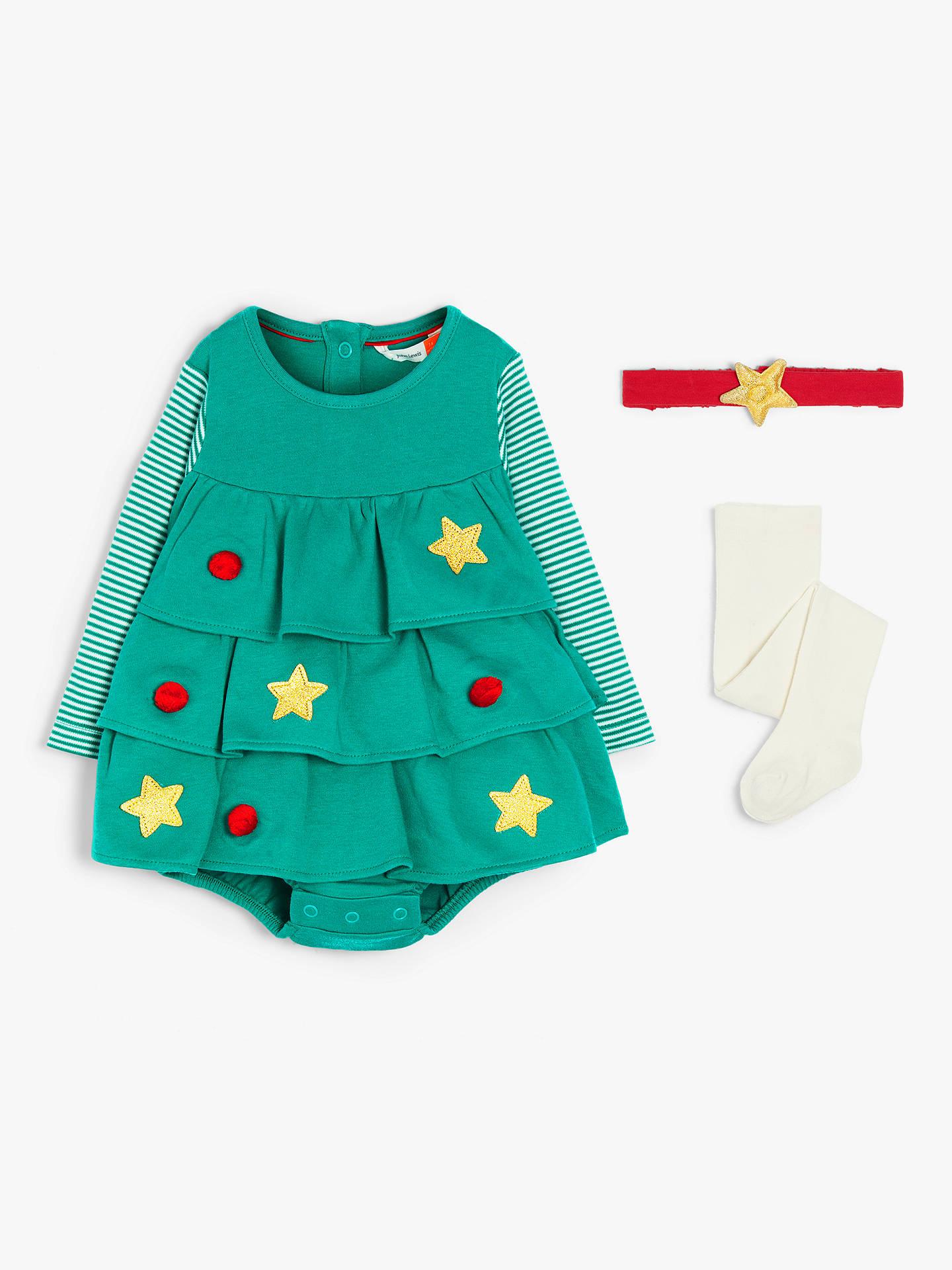Toddler Christmas Tree.John Lewis Partners Baby Gots Organic Cotton Christmas Tree Romper And Headband Set Green