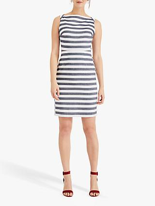 Phase Eight Sybil Stripe Pencil Dress, Grey/Ivory