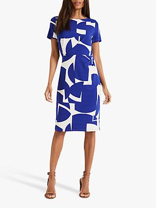 Phase Eight Gretchen Print Dress, Ivory/Cobalt