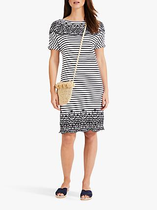 14b6b45a89ffc7 Phase Eight Eliza Embroidered Stripe Dress, Navy/White